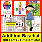 Addition Facts Math Centers Activities Baseball - 4 ways t