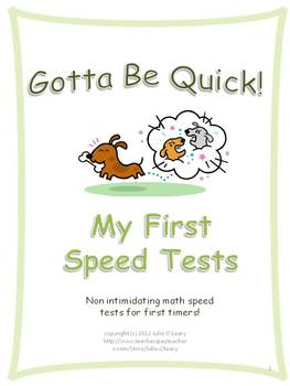 Addition Speed Tests for Kindergarten and First Grade!