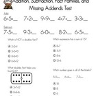 Addition, Subtraction, Fact Families, and Missing Addends Test