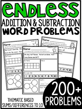 Addition & Subtraction Story Problems {Theme Packs} ENDLESS BUNDLE