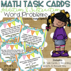 Addition & Subtraction Word Problems Task Cards & SCOOT