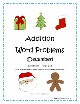 Addition Word Problems (December) Common Core