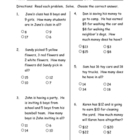 Addition Word problem pre-post assessment pages ITBS style
