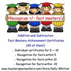 Addition and Subtraction Fact Mastery Achievement Recognit