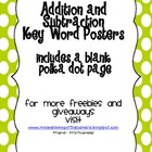 Addition and Subtraction Key Word Posters LIME polka dot edition
