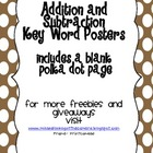Addition and Subtraction Key Word Posters brown polka dot edition
