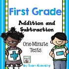 Addition and Subtraction One Minute Math Test - First Grade