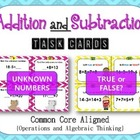 First Grade Addition and Subtraction Task Cards- Common Co