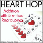 Addition with and Without Regrouping Game- Heart Hop