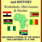 Africa: Geography & History Worksheets and Puzzles