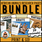 African Animals Reading & Writing Pages CCSS! 29 creatures