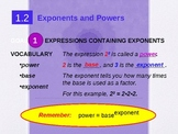 Alg 1.2 Exponents and Powers