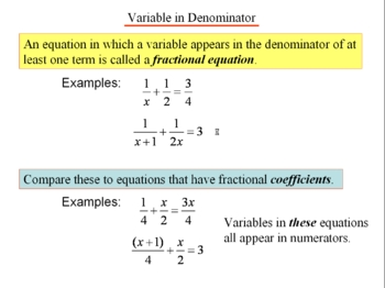Algebra 1: 270 Fractional Equations