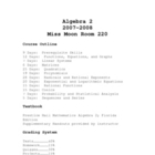 Algebra 2 Syllabus with Student Info Sheet