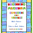 Algebra - Beginning Expressions / Variables math center
