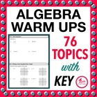Algebra Daily Math Warm Ups with Key