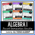 Algebra I {First Semester} - Notes, Homework, Quizzes, Tes