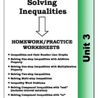 Algebra: Unit 3 - Solving Inequalities Homework Worksheets Bundle