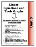 Algebra: Unit 5 - Linear Equations and Their Graphs Homewo