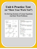 Algebra: Unit 6 Practice Test or Review on Solving Systems