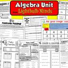 Algebra Unit from Lightbulb Minds