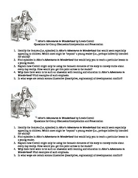 Alice's Adventures in Wonderland Analytical Questions (5)