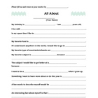 All About Me Survey