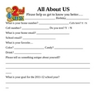 All About Us Information Sheet for 2nd grade Teachers