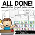 All Done! Now What? {activities for fast finishers} Part Two!