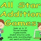All Star Addition Game- Sums to 12- Kindergarten & 1st- Ma