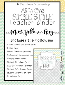 All-in-One Simple Style Teacher Binder