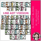 Alphabet Blocks LINE ART bundle