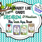 Alphabet Cards Brown Owl Cheveron (Blue, Green, Brown, Aqu