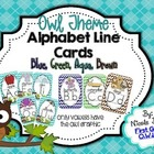 Alphabet Cards Brown Owl Chevron (Blue, Green, Aqua, Brown)