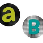 Alphabet Circles in Black and White Dots and Chevron
