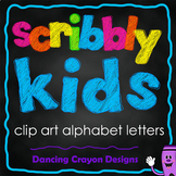 Alphabet Letters Clipart: Scribble Style