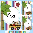 Alphabet Posters Striped Jungle Themed Solid Print Classro