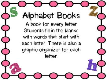 Alphabet Soup: Books and graphic organizers for each letter