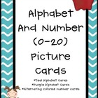 Alphabet and Number Cards Purple and Teal