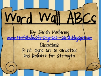 Alphabet/Word Wall ABCs (Pirate Theme)