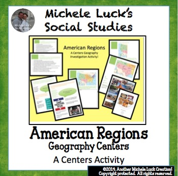 America Regions Geography Centers Lesson Activity