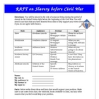 American Civil War Slavery Issue RAFT Activity Common Core
