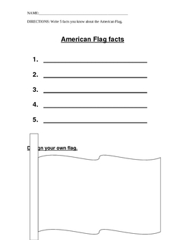 American Flag Facts - 1st grade