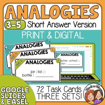 Analogy Task Cards: 72 short answer cards plus answer sheet
