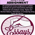 Analytical Essay Assignment