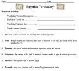 Ancient Egypt Vocabulary Builder, Strategies, & Reflection