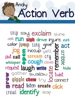 andy action verb poster teacherspayteachers - Action Berbs