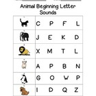 Animal Beginning Letter Sounds