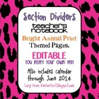 Editable Animal Print Bright Themed Teacher Notebook Divid