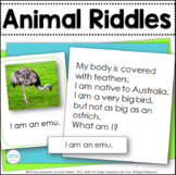 Animal Riddle Cards ~ Inference, Key Details, and Vocabulary